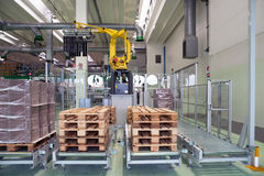 Factory - Production of cardboard foodstuff containers. Automatic machines for the production and printing of cardboard foodstuff containers (mainly  pizza boxes Stock Image