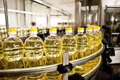 Factory for the production of edible oils. Shallow Royalty Free Stock Photography