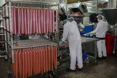 The factory for the production of food from natural Ingredients. Butcher shop. Butchering beef. Meat processing plant in a meat factory royalty free stock photography