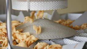 Factory production of fried corn snacks Stock Photos