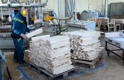 Factory for production of furniture. Wood plank finger jointing process on factory manufacture Royalty Free Stock Images