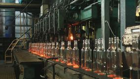 Factory for the production of glass bottles. stock video