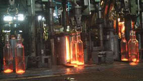 Factory for the production of glass bottles. stock footage