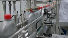 Factory for the production of motor oils, automatic machine fix red caps on plastic bottles on conveyor stock video footage