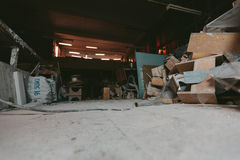Factory for Production of plaster molds. cluttered dusty old warehouse at night Royalty Free Stock Photography