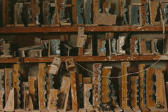 Factory for Production of plaster molds. cluttered dusty old warehouse at night Royalty Free Stock Photos