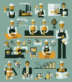 Factory production process icons set infographic Royalty Free Stock Photo