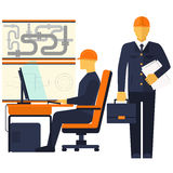 Factory production process of manufacture. Design production assembly control delivery service call. Engineer sitting on chair at table in front of computer royalty free illustration