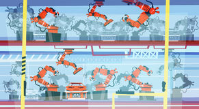 Factory Production Smart Conveyor, Robotic Assembly Line Industrial Automation Industry. Flat Vector Illustration Stock Image