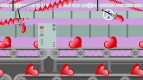 Factory of Red Hearts on a Conveyor Cartoon Style stock video