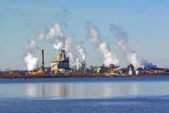 Factory on a river in Virginia Stock Photo