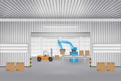 Factory. Robot working with conveyor belt and forklift inside factory Royalty Free Stock Photo
