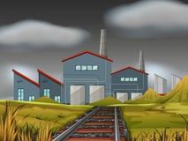 A factory scene background. Illustration royalty free illustration