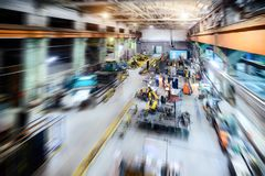 Factory shop. Abstract industrial background, motion blur effect. Royalty Free Stock Images