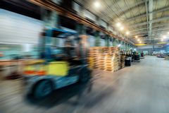 Factory shop. Abstract industrial background, motion blur effect. Stock Photo