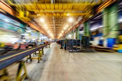 Factory shop. Abstract industrial background, motion blur effect. Stock Photography