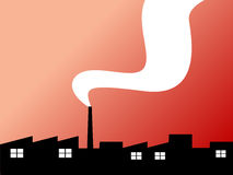 Factory silhouette. Illustration with smoke on the sunset background Royalty Free Stock Photos