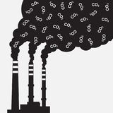 Factory silhouette with chimney polluting CO2 cloud smoke. Pollution of environment. Factory silhouette with chimney polluting CO2 cloud smoke. Vector Royalty Free Stock Photo