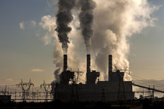 Factory Smoke. In clear sky royalty free stock photo