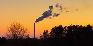 Factory smoke with landscape forest Stock Image