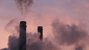 Factory smoke stacks. Causing air pollution stock video