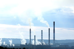 Factory with smokestacks Royalty Free Stock Photography