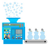 Factory snowmen. Apparatus for producing snow figures. Is  snow Stock Image