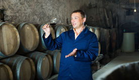 Factory sommelier checking quality of red wine Stock Photo