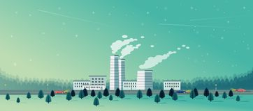 Factory with spruce forest flat style. Design of factory with spruce forest flat style eps10 Royalty Free Stock Images