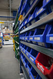 Factory stockroom boxes on shel Stock Photo
