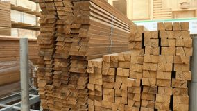 Factory storage of wooden beams with processing. Panorama of the tree in plant. stock video footage
