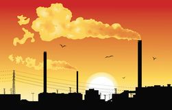 Factory at sunset. royalty free illustration