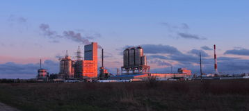 Factory in sunset colors, Lithuania Royalty Free Stock Photo