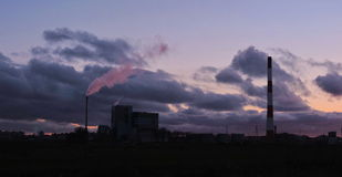Factory in sunset colors, Lithuania Royalty Free Stock Photography