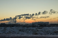 Factory and sunset winter Stock Image