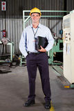 Factory technical manager. Full length portrait of factory technical manager royalty free stock photo