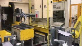 Factory technology. Steel metal production with robot machine on automotive manufacture plant. Industry technology. Industrial mac