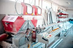 Factory tools, industrial manufacturing and production equipment. Of PVC and plastic Royalty Free Stock Photos
