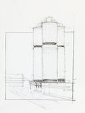 Factory towers. Architectural perspective of factory towers, drawn by hand Royalty Free Stock Image