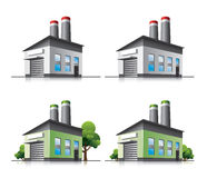 Factory vector icons in cartoon style. Set of detailed cartoon factory icons with green eco versions. Trees in separate layers Stock Photos