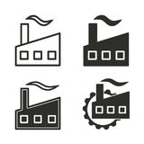 Factory icon set. Factory vector icons set. Black illustration isolated for graphic and web design Stock Photos