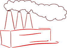 Factory. Vector image of polluting factory Royalty Free Stock Photos
