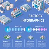 Factory vector industrial building and industry manufacture with engineering power illustration isometric infographics. Map of manufacturing construction vector illustration