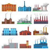 Factory vector industrial building and industry or manufacture with engineering power illustration set of manufacturing. Construction producing energy or Royalty Free Stock Photos