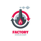 Factory - vector logo template concept illustration in flat style for business company. Industrial plant sign illustration. Fire flame. Arrows circle. Hot warm Royalty Free Stock Image