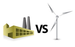 Factory vs windmill energy illustration Royalty Free Stock Photos