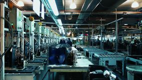 Factory warehouse. Automated production line. stock video footage