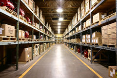 Factory Warehouse - wide angle view. stock image