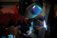Factory welder at work Royalty Free Stock Image