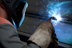 Factory welder at work Royalty Free Stock Images